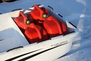 Gas jerry cans secure in the Arctic Mule Sleigh